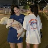 夏季韓版2020新款寬鬆中長款閨蜜裝彩虹小熊短袖T恤上衣女ins學生 童趣屋