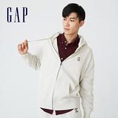 Gap男裝 碳素軟磨系列法式圈織 印花軟連帽外套 735933-灰白色