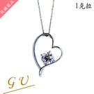 【GU鑽石】A86聖誕禮物女友生日禮物銀項鍊銀飾品鋯石項鍊 Apromiz 1克拉愛心造型鑽石項鍊 女