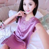 夏季女士短袖真絲睡裙大碼韓版V領性感蕾絲吊帶睡衣冰絲綢家居服  八折免運 最後一天