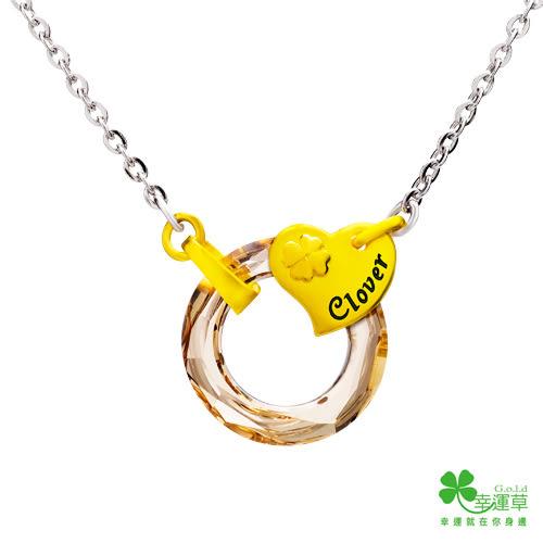幸運草金飾 幸福時光 黃金/水晶墜子-女 送項鍊