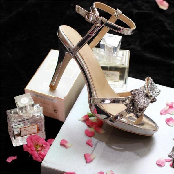 女神亮片蝴蝶結防水台結婚禮鏡面漆皮高跟細跟女涼鞋  -yrre00230