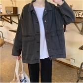 牛仔外套 秋季女裝2019年新款正韓百搭大口袋寬鬆牛仔外套長袖休閒夾克開衫  喜樂屋