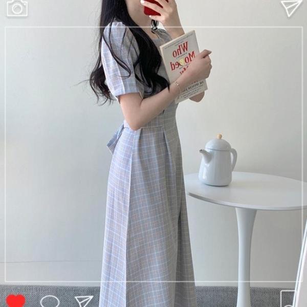 雪紡洋裝 茶歇設計感法式小眾顯高收腰顯瘦年新款夏氣質洋裝子秋長裙 雙十二全館免運