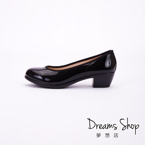 大尺碼女鞋-夢想店-MIT台灣製造職場正氣真皮素面工作鞋高跟鞋4.5cm(41-46)【JD5601】鏡黑色