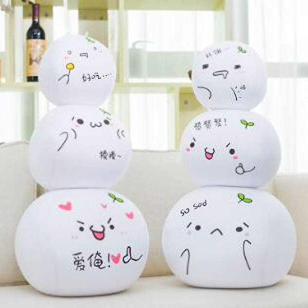【BlueCat】日本顏文字白色扁饅頭小沙球 圓球 玩偶 (10cm)