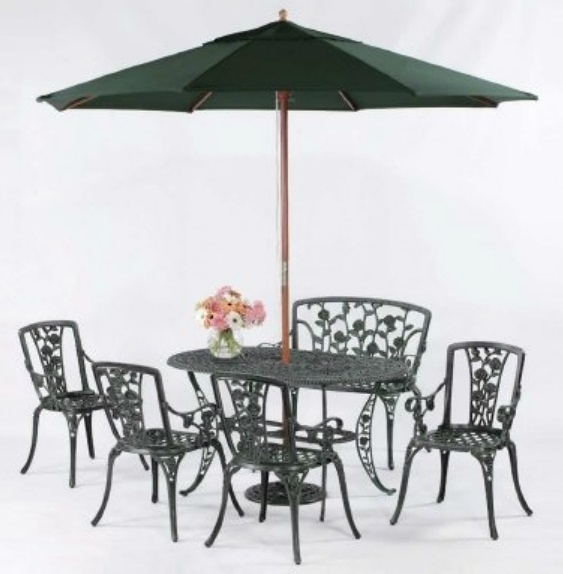 【南洋風休閒傢俱】戶外休閒桌椅系列-玫瑰橢圓桌椅組 戶外餐桌椅組 適民宿 餐廳 (#20356 #20402 #255)