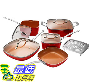 [8美國直購] 陶瓷不沾鍋 廚具套裝 Gotham Steel 10-Piece Square Kitchen Set with Non-Stick Ti-Cerama Coating Red 紅色