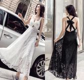 VK旗艦店 韓國風性感小心機v領修身顯瘦氣質禮服吊帶蕾絲無袖洋裝