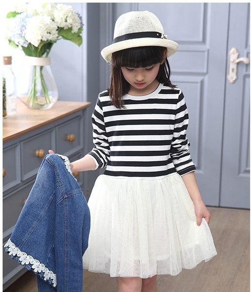 衣童趣 ♥韓版女童 甜美 橫條紋紗網洋裝+牛仔外套 兩件式組合 百搭套裝