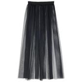 9折起 百搭透明網紗蕾絲裙襯裙中長款單層透視外搭正韓半身裙大碼罩裙女