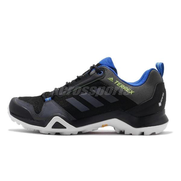 adidas 戶外鞋 Terrex AX3 GTX 黑 藍 男鞋 Gore-Tex 登山 防水 運動鞋 【ACS】 EF3311
