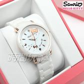 HELLO KITTY 凱蒂貓 公司貨 日本機芯 45週年紀念限量陶瓷手錶 女錶 白x玫瑰金 LK708LRWI