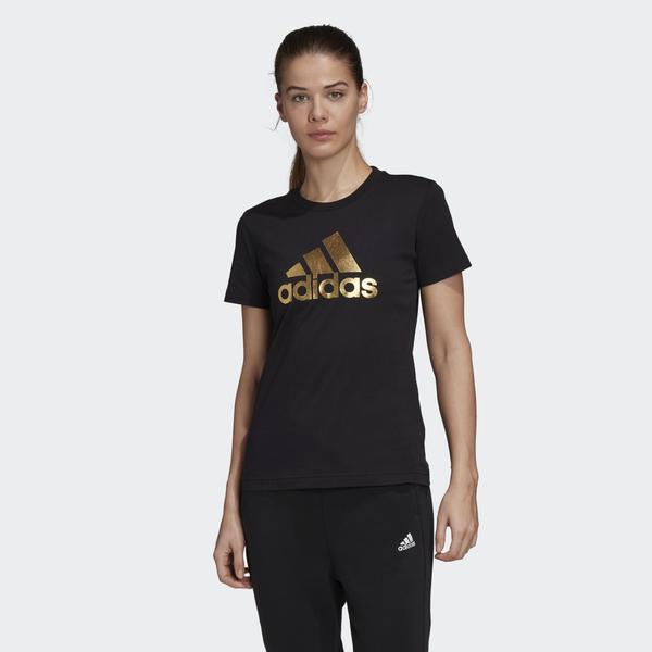 Adidas ATHLETICS 女款黑底金色LOGO短袖上衣-NO.GI4768