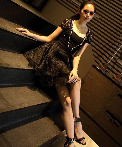 大尺碼禮服 韓版蕾絲網紗釘珠澎澎裙連身裙 L-4XL #wm398 ❤卡樂store❤