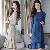 【韓國KW】(預購)L~2XL 優雅純色蕾絲縷空魚尾洋裝