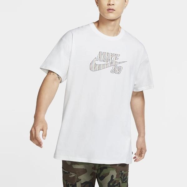 NIKE 短T SB LOGO SKATE 白 彩LOGO 滑板 男 (布魯克林) CW1463-100