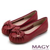 限時特賣-MAGY 復古甜美 手工縫線牛皮蝴蝶結鑽飾平底鞋-紅色