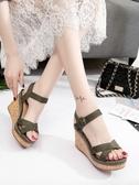 楔型鞋 坡跟涼鞋女 夏季厚底鬆糕鞋 學生韓版百搭防水台高跟女鞋潮