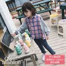 女童襯衫 粉藍格紋拼接長袖上衣 18617161