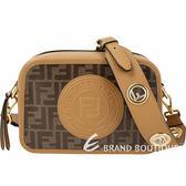 FENDI FF 鏤空金屬背帶圓型標章帆布相機包(棕色) 1840480-B3