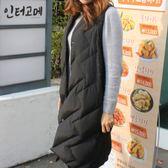 梨卡 - 【韓國製】韓國空運超美中長版零下雪地內鋪羽絨100%純羽絨保暖長背心AR064