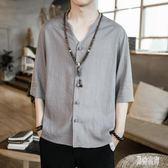 男士棉麻短袖上衣 唐裝襯衫夏中國風亞麻寬鬆復古大碼半截袖上衣 BT532『男神港灣』