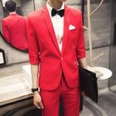 西裝套裝含西裝外套+西裝褲(二件套)-韓版簡約鮮豔繽紛面試男西服4色73hc80[時尚巴黎]
