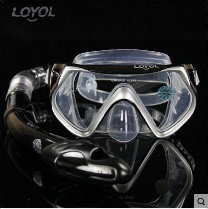 成人潛水鏡 浮潛三寶全乾式呼吸管套裝【銀黑款M2526+S14套裝】