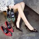 綠色高跟鞋女細跟5cm尖頭性感紅色新娘婚鞋結婚冬水鑚一字扣綠鞋「時尚彩紅屋」