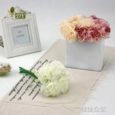 歐式簡約仿真牡丹花束高檔外貿家居裝飾小繡球5頭花假花絹花擺件 IGO