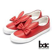 ★2018春夏新品★【bac】話題女王-兔耳造型真皮平底鞋(紅)