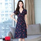 依Baby 洋裝 春夏季2019新款仙女bf長裙溫柔風女極簡氣質顯瘦V領連身裙