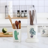 帶蓋防塵陶瓷筷子筒家用瀝水筷廚房雙筷子桶筷子籠收納置物架筷‧復古‧衣閣