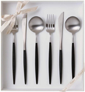 Cutipol【日本代購】葡萄牙 GOA系列餐具 黑色/亞光銀晚餐6件套