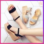 楔型鞋 新款夏季新款坡跟涼鞋女夏天高跟露趾厚底鬆糕底百搭一字扣女鞋子 年底清倉8折