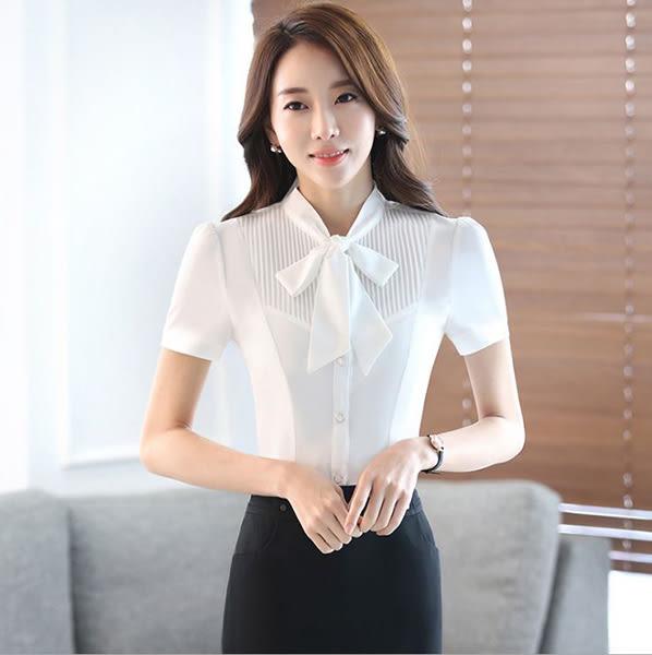 OL短袖白襯衫~*艾美天后*~5XL大尺碼夏季女裝職業裝立領百搭女士飄帶蝴蝶結襯衣