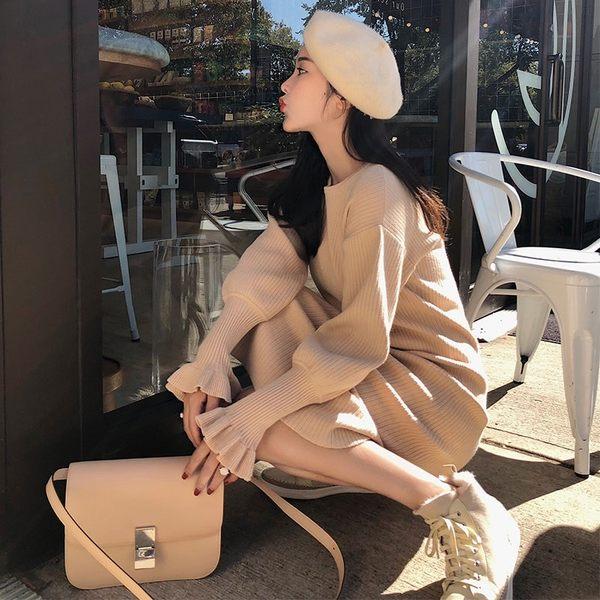 女士新款韓版潮流連身裙 秋冬新款韓版長袖裙修身內搭厚針織毛衣女打底連衣裙子