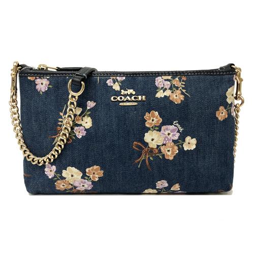 【COACH】牛仔布花卉鏈帶貼身小斜背包(花卉藍)