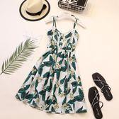 夏季印花波西米亞吊帶裙女海邊度假顯瘦連身裙民族風吊帶裙沙灘裙