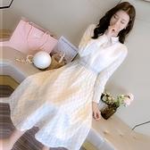 連身裙 洋裝女秋冬季配大衣的長裙子加厚過膝內搭打底裙-Milano米蘭