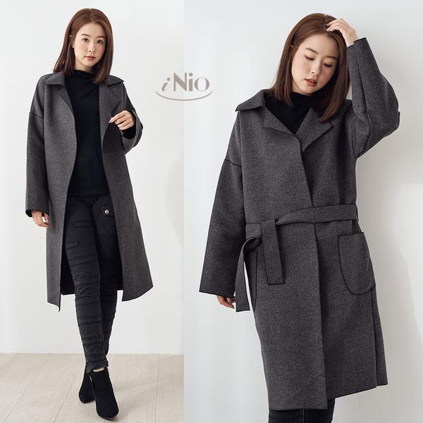 [韓國空運] 質感毛呢都會風長版大衣外套長版風衣外套 - 現貨快出【K9W4003】 iNio 衣著美學