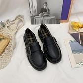 樂福鞋 小皮鞋女2021秋冬季新款英倫風韓版百搭樂福鞋女jk加絨單鞋學院 伊蘿
