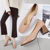 2018春季新款復古方頭高跟鞋粗跟淺口套腳單鞋韓版百搭工作ol女鞋  無糖工作室
