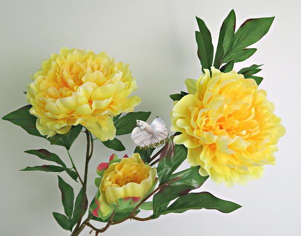 [黃色] 仿真3頭大牡丹花 假牡丹 芍藥 人造花花束 ~~ 插花.居家.店面.櫥窗擺飾.園藝
