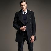 毛呢外套-歐美奢華西裝領修身中長款男大衣7色72e15[巴黎精品】