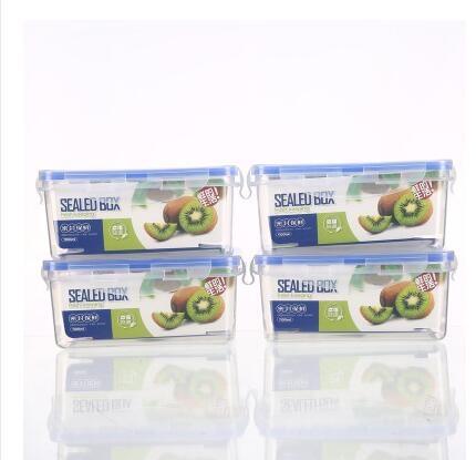 廚房冰箱長方形保鮮盒塑料飯盒水果保鮮盒四件套微波密封盒 - 風尚3C