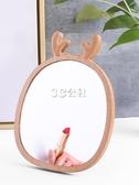 木質臺式化妝鏡桌面梳妝鏡子高清可立折疊便攜大號學生宿舍簡約女