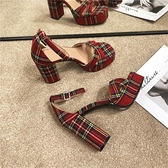 高跟凉鞋 2021夏季新款英倫復古防水臺露趾粗跟涼鞋條紋水鉆扣帶高跟涼鞋女