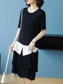 依Baby 洋裝 夏季寬鬆T恤裙假兩件拼接連身裙